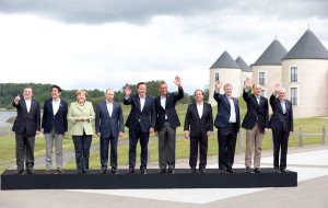 G8 pose for a group photograph at the G8 Summit