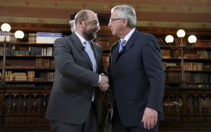 Candidates to be next European Commission president, former Luxembourg's Prime Minister Juncker and European Parliament President Schulz, pose before a TV debate in Brussels