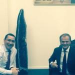 Ponta, întâlnire cu preşedintele Consiliului European, Donald Tusk, pe aeroportul Otopeni