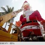 Moș Crăciun de peste 27 de metri înălțime construit în India