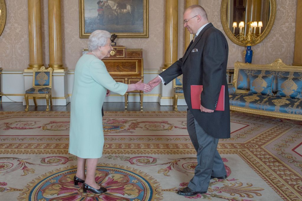 His Excellency Mr Dan Mihalache is received in audience by Queen Elizabeth II at Buckingham Palace, London where he presented his Letters of Credence as Ambassador from Romania to the Court of St James's.
