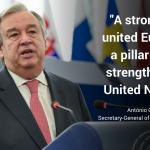 Secretarul general al ONU, în plenul Parlamentului European: Nu putem stabili pacea în lume fără sprijinul Uniunii Europene