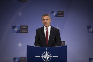 NATO Secretary General Jens Stoltenberg previews Antalya meeting of NATO Foreign Ministers during a press conference given at NATO headquarters