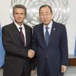 """Noul ambasador al României la ONU, Ion Jinga, primit de Ban Ki-moon: """"Abordarea României este că nu putem avea securitate fără dezvoltare, şi nici dezvoltare durabilă fără securitate"""""""