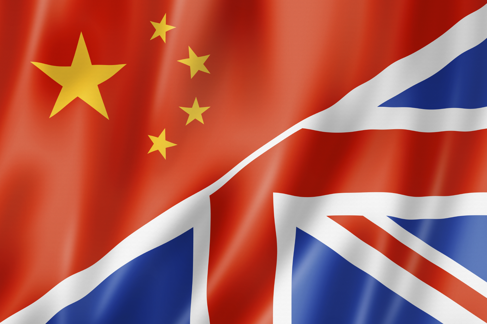 Mixed China and United Kingdom flag, three dimensional render, illustration