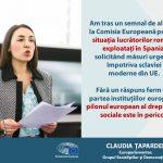 Eurodeputatul Claudia Țapardel (PSD, S&D): Solicit instituțiilor UE să ia măsuri urgente privind situația lucrătorilor români exploatați în Spania