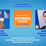 VIDEO&TEXT Comisarul european Corina Crețu, la București pentru un dialog cu cetățenii privind viitorul Europei