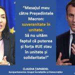 Eurodeputatul Claudia Țapardel (PSD, S&D), mesaj pentru Emmanuel Macron: Puterea și forța Uniunii Europene stau în unitate și în solidaritate