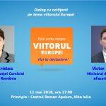 Ministrul afacerilor europene, Victor Negrescu, și șeful Reprezentanței CE în România, Angela Cristea, în dialog cu cetățenii privind viitorul Europei la Alba Iulia, orașul Marii Uniri (LIVE, 11 mai, ora 17:00)