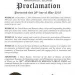 Centenarul Marii Uniri. Illinois, cel de-al doilea stat american care emite o proclamație oficială prin care felicită România pentru împlinirea a 100 de ani de la Marea Unire din 1918