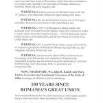 """Al treilea stat american care emite o proclamație oficială pentru celebrarea Centenarului Marii Uniri de la 1918: """"Arată legăturile puternice dintre România și SUA"""""""