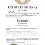 Centenarul Marii Uniri, sărbătorit de statul american Texas printr-o proclamație oficială: Lumea s-a schimbat pentru totdeauna odată cu unirea României din 1918