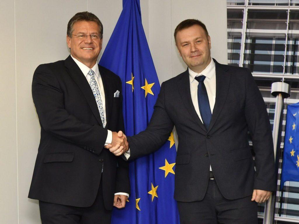 Maroš Šefčovič și ministrul energiei și protecției mediului din Ucraina Oleksiy Orzhel